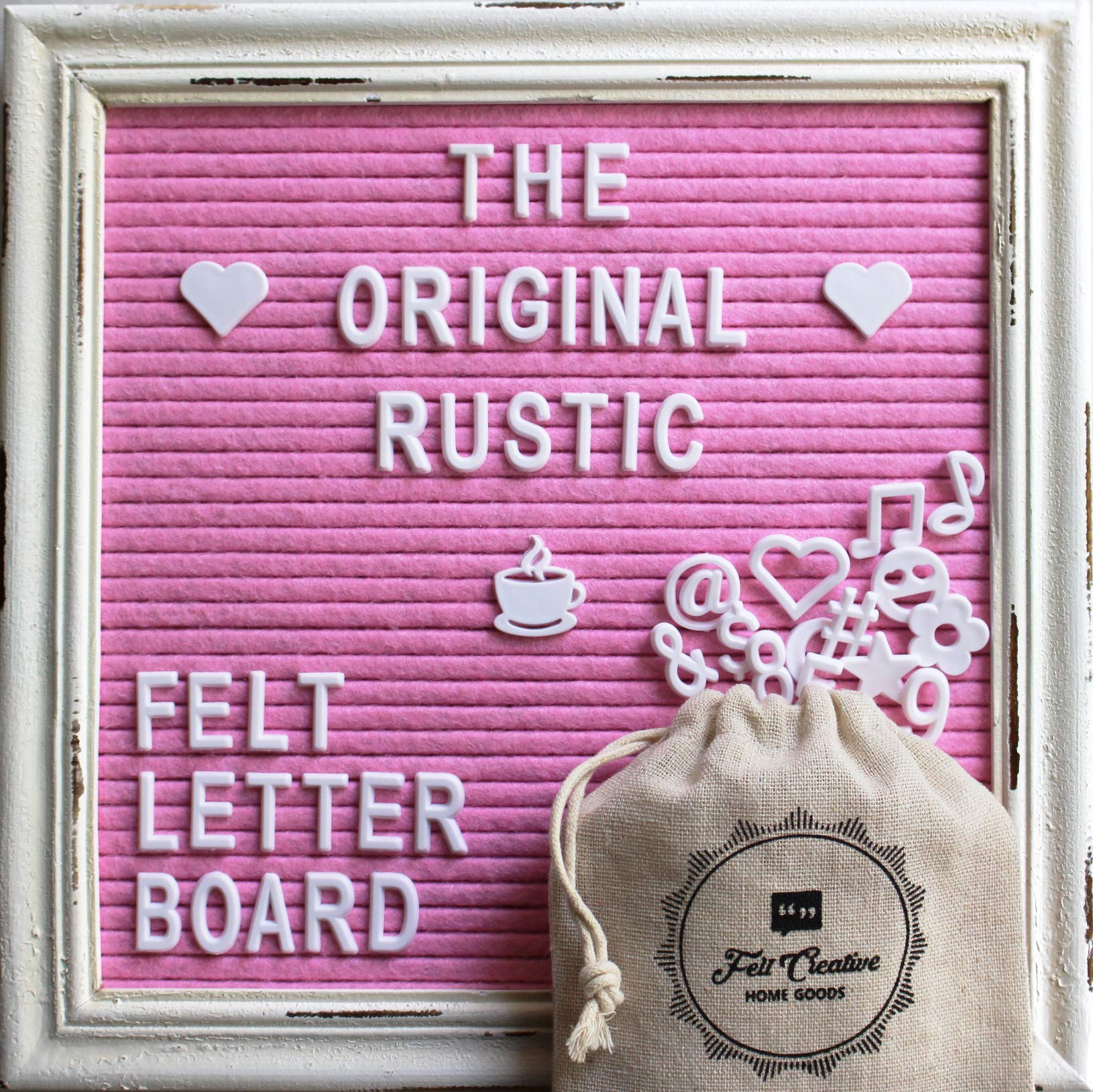Pink Felt Letter Board Rustic White Wood Farmhouse Vintage Frame and Stand by Felt Creative Home Goods | 10''x10'' Changeable Nursery Baby Announcement Board 350 White Alphabet Letters, Numbers, Emojis