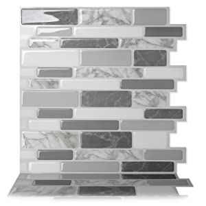 Tic Tac Tiles - Premium Anti-Mold Peel and Stick Wall Tile in Polito Gray (10 Tiles)