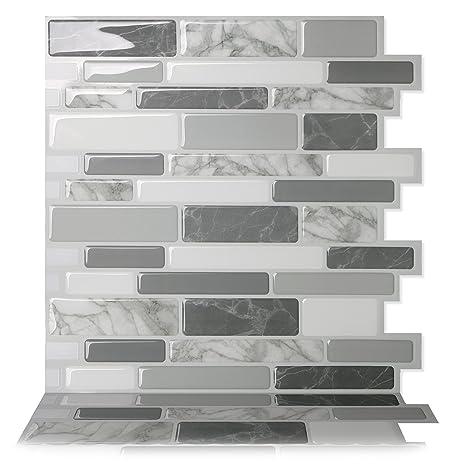 Amazon.com: Tic Tac Tiles   Premium Anti Mold Peel And Stick Wall Tile In  Polito Gray (10 Tiles): Home Improvement