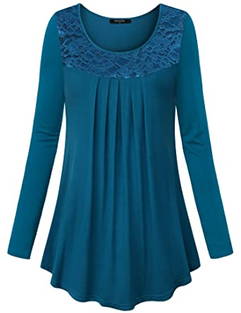 d36f6c04723305 Lotusmile Womens Long Sleeve Scoop Neck Casual Tunic Vintage Lace Printed  Loose Pleated Shirts Dark Cyan/XXL: Amazon.co.uk: Clothing