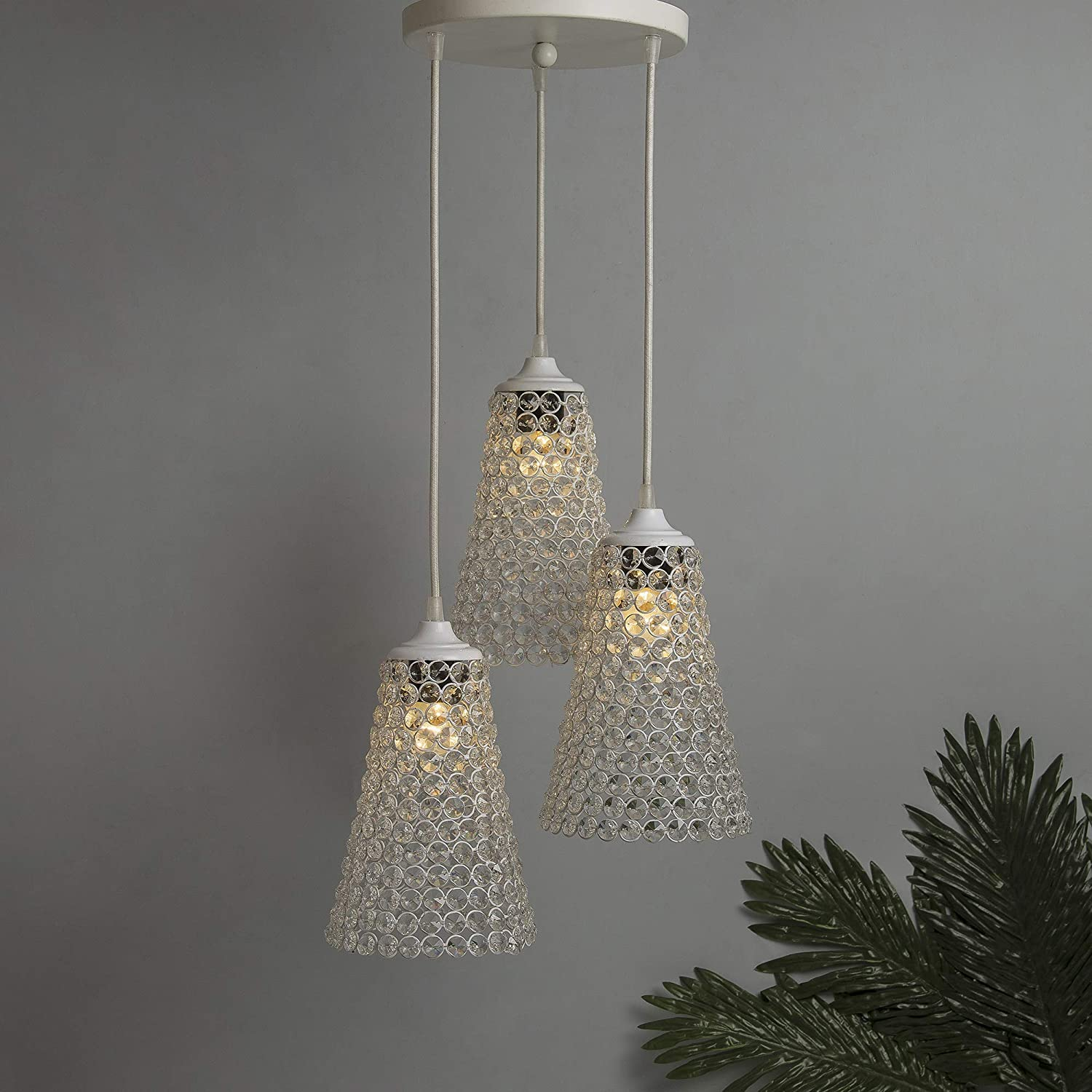 Crystal Cone Hanging Pendant Light with Braided Cord hanging lights for Indian homes