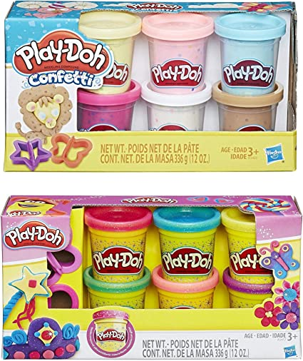 Play-Doh Confetti Compound Collection Kids Children Modeling Toy Pack of 6 Cans
