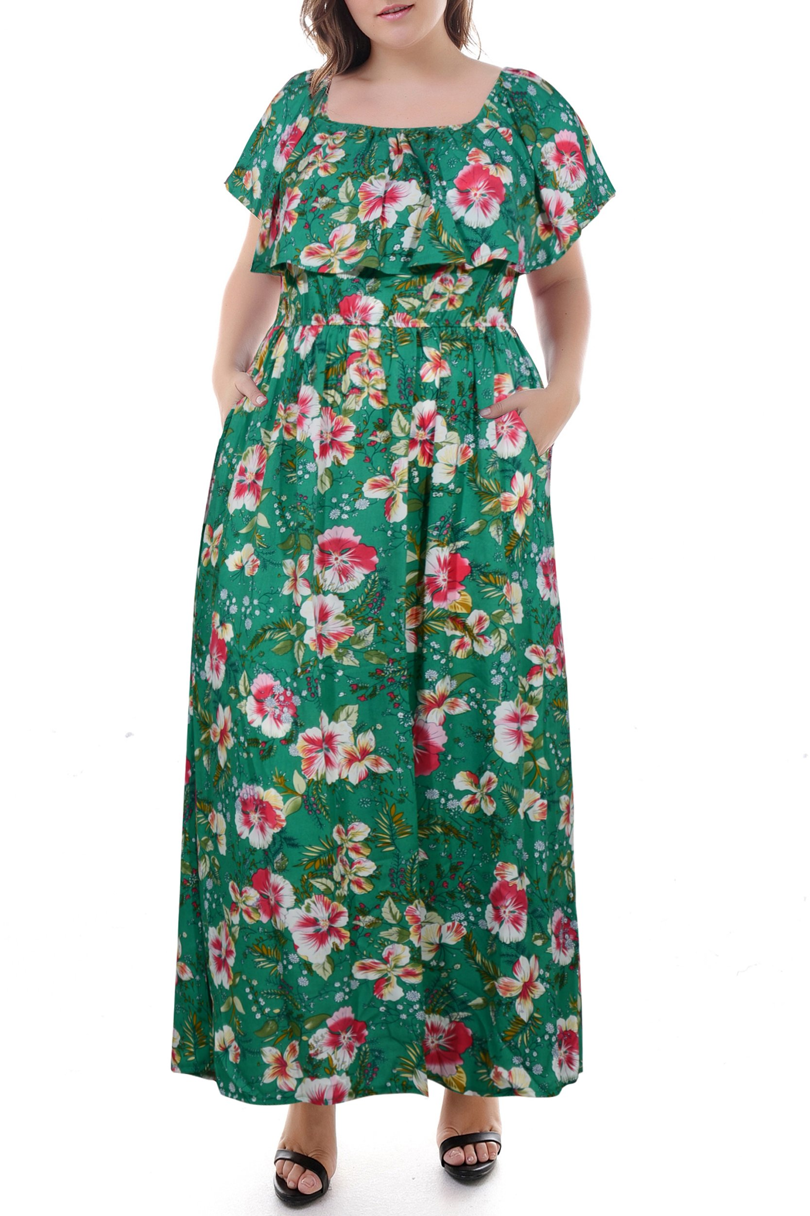 Nemidor Women's Floral Print Off Shoulder Summer Casual Plus Size Maxi Dress with Pocket (Green, 24W)