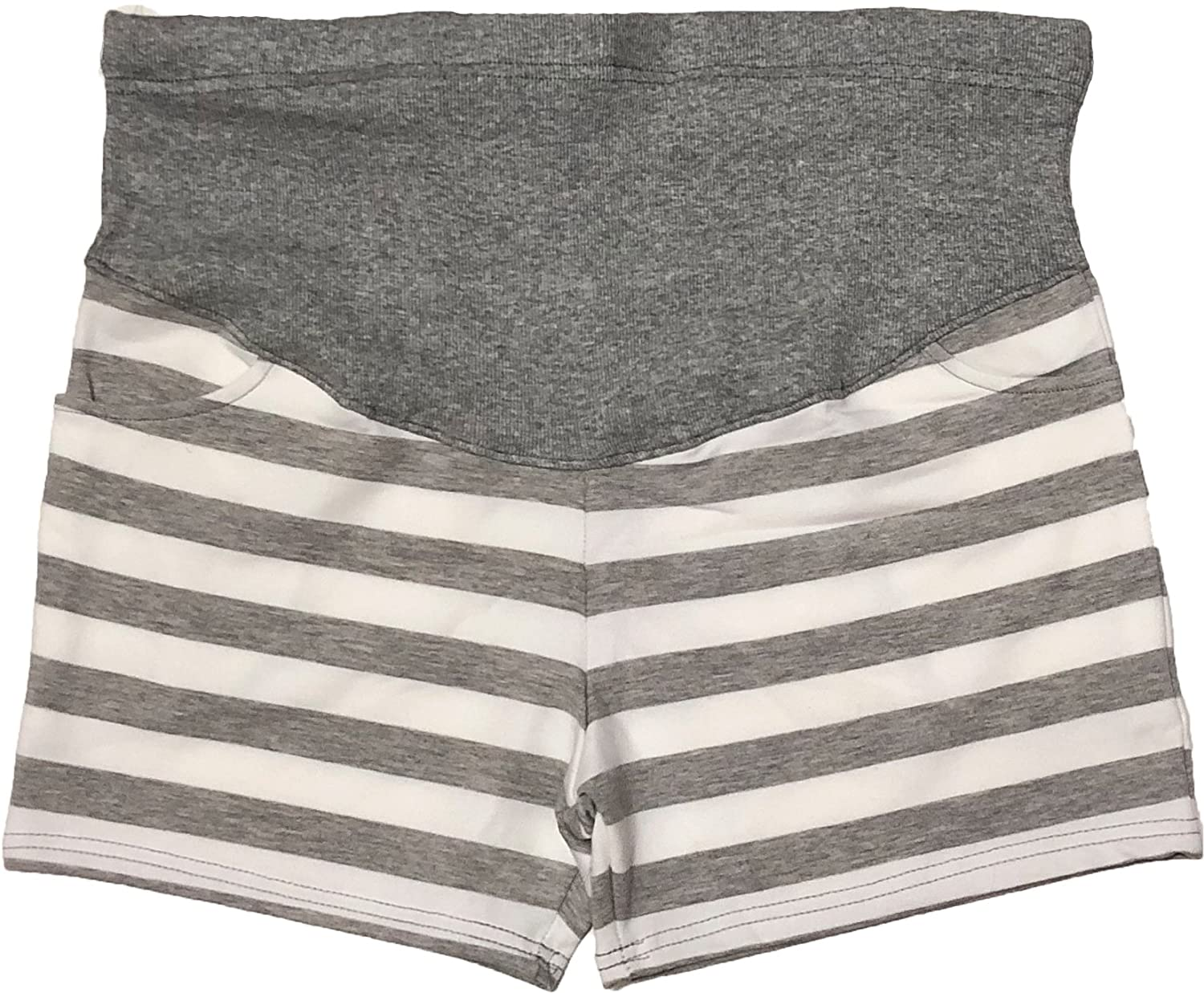 Petitebelle Pregnant Maternity Women Gray White Striped Over Bump Short Pants MP00012