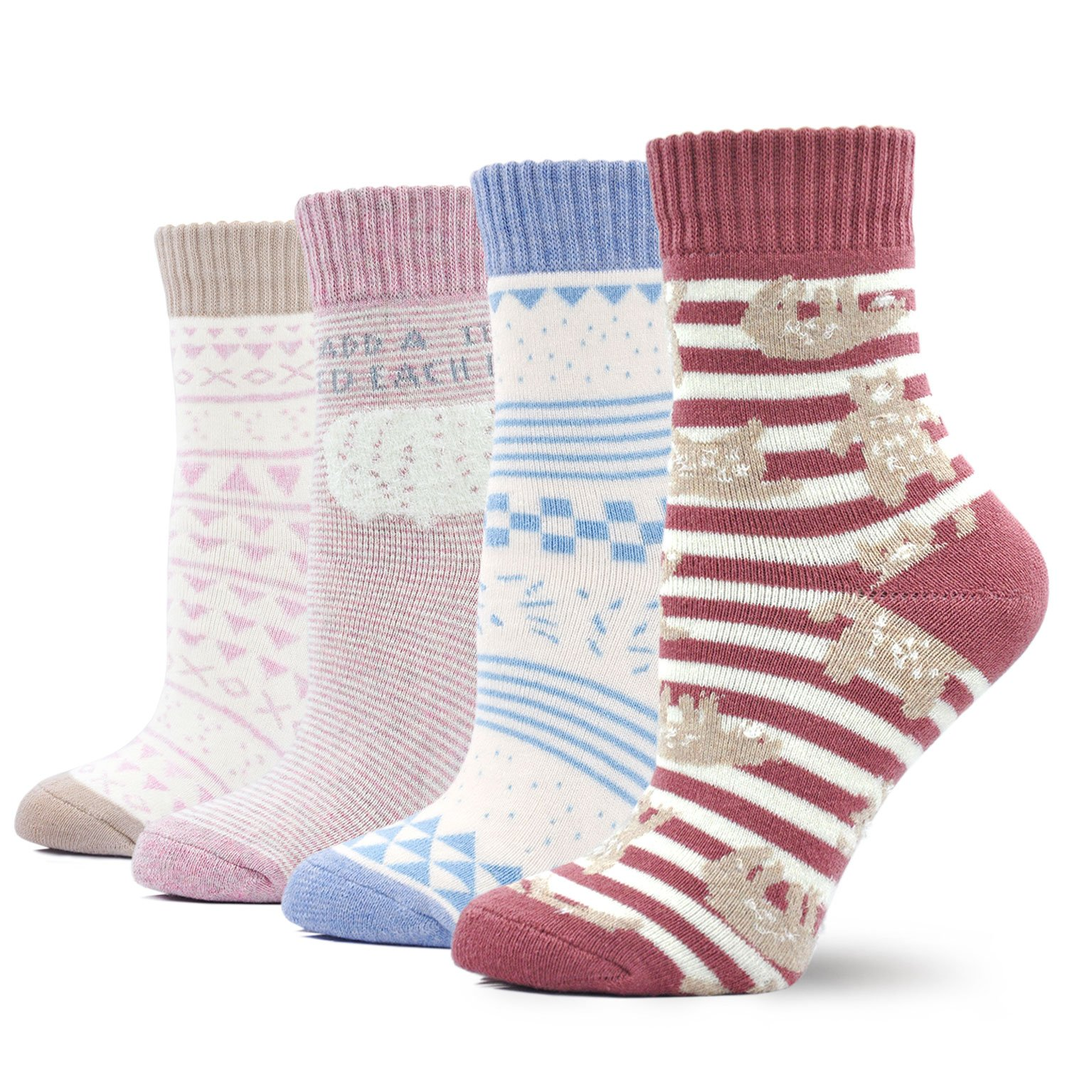 Women\'s Winter Warm Thickened Socks Vintage Style Cotton Crew Socks, 4 Pairs