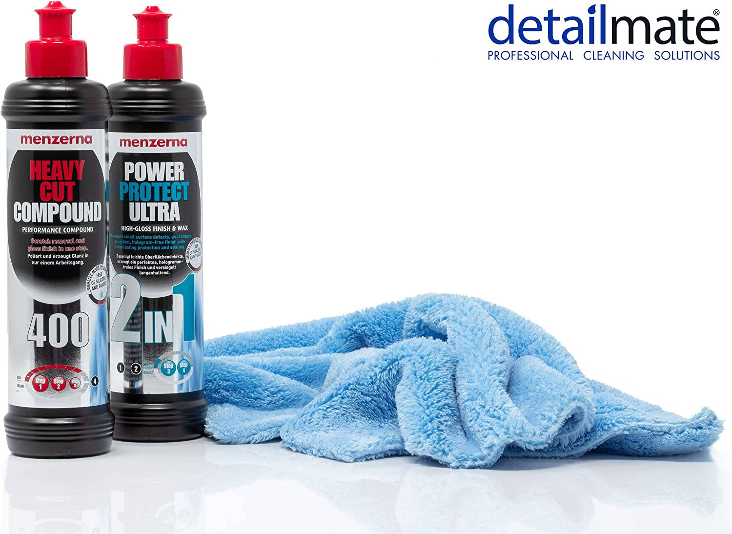 Detailmate Auto Politur Set Menzerna Autopolitur Heavy Cut Compound Hc 400 250 Ml Menzerna Lackversiegelung Power Protect Ultra 2 In 1 250 Ml Extra Langfloriges Mikrofaser Poliertuch 450 Gsm Auto