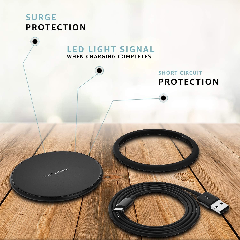 Black Basics Ultra-Slim 10W Qi Certified Fast Charging Wireless Pad