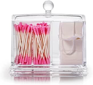 Cotton Balls Swabs Holder Boxalls Medicine Q-tips Container with Lid 4 Compartments