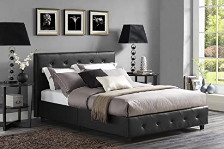 dhp dakota platform bed with tufted upholstery in faux leather stylish headboard includes side