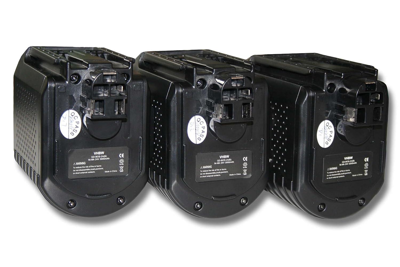 vhbw 3x Ni-MH Akku 3000mAh (24V) für Werkzeuge Bosch 0 611 260 539, 11225VSR, 11225VSRH wie Bosch 2 607 335 082, 2 607 335 097, 2 607 335 216.