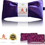 Blissful Being Silk Eye Pillow Set With Purple Cover | Lavender & Flax Seeds | Soothe Tired & Puffy Eyes, Relax, Calm Body & Mind, Eliminate Headaches / Migraines (Amethyst with Purple Cover)