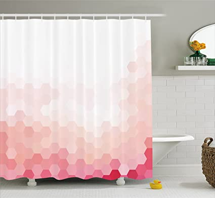 Ambesonne Pale Pink Shower Curtain Gradient Toned Geometric Digital Abstract Hexagon Modern Display Fabric