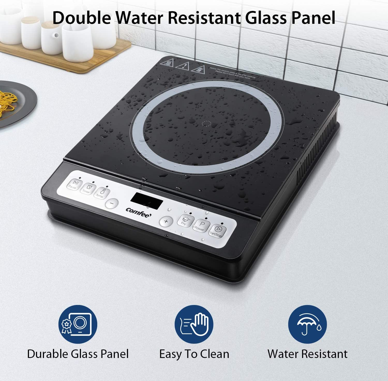 COMFEE/' 1800W Digital Electric Portable Induction Cooktop Countertop Burner with 8 Power /& Temperature Settings /& 180 Mins Timer Auto Shut Off and Energy-saving