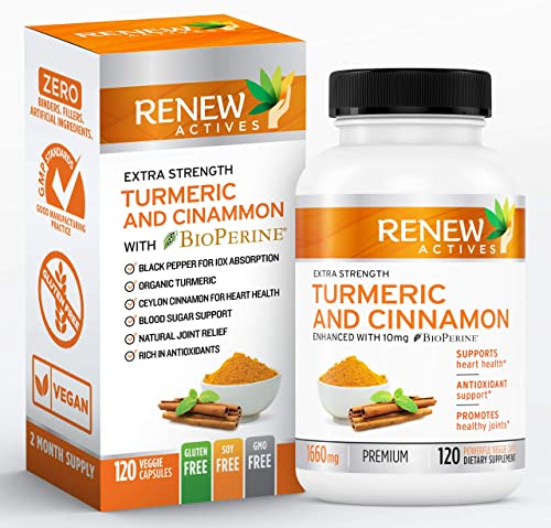 Renew Actives Turmeric Cinnamon Supplement Anti Inflammatory Dietary Supplements for Heart Health, Joint Pain Relief – Turmeric Curcumin and Ceylon Cinnamon with BioPerine Black Pepper – 120 Capsules