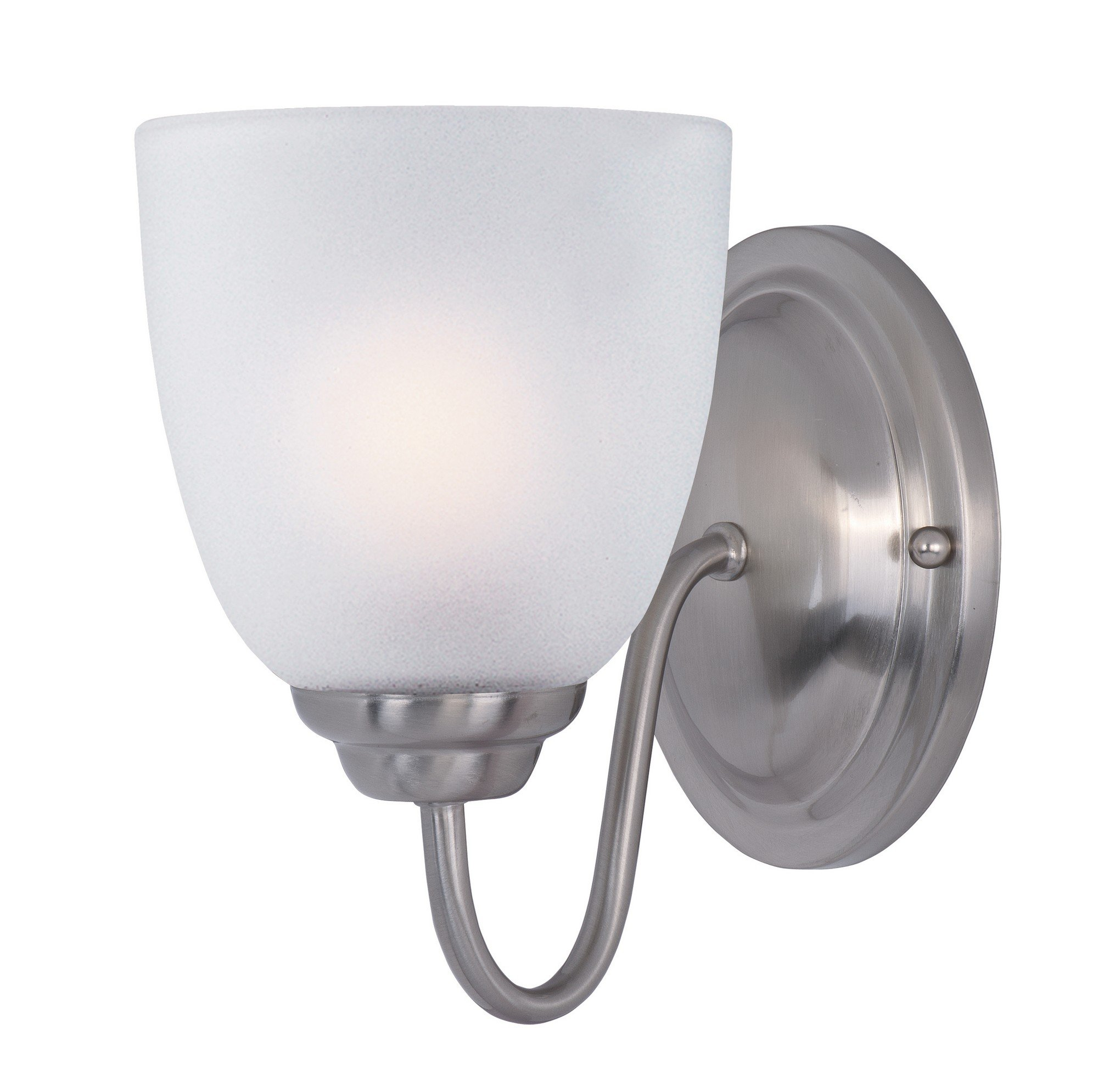 Maxim 10071FTSN Stefan 1-Light Wall Sconce, Satin Nickel Finish, Frosted Glass, MB Incandescent Incandescent Bulb , 100W Max., Dry Safety Rating, Standard Dimmable, Glass Shade Material, 3450 Rated Lumens