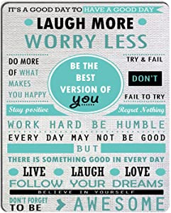 Wknoon Inspirational Quotes Laugh More Worry Less Don't Forget to Be Awesome Mouse Pad Custom Design, Work Hard Be Humble Follow Your Dreams Live Laugh Love Motivational Quote Mouse Pads