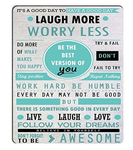 Wknoon Inspirational Quotes Laugh More Worry Less Don\'t Forget to Be  Awesome Mouse Pad Custom Design, Work Hard Be Humble Follow Your Dreams  Live ...