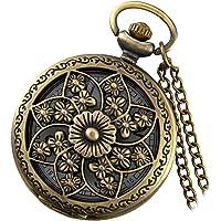 Lancardo Reloj de Bosillo Retro Cazador Cubierta de Camelia de Calados Antiguo Collar con Cadena de Suérte Movimiento de Cuarzo Dial Digital para Hombre Adultos (Latón)