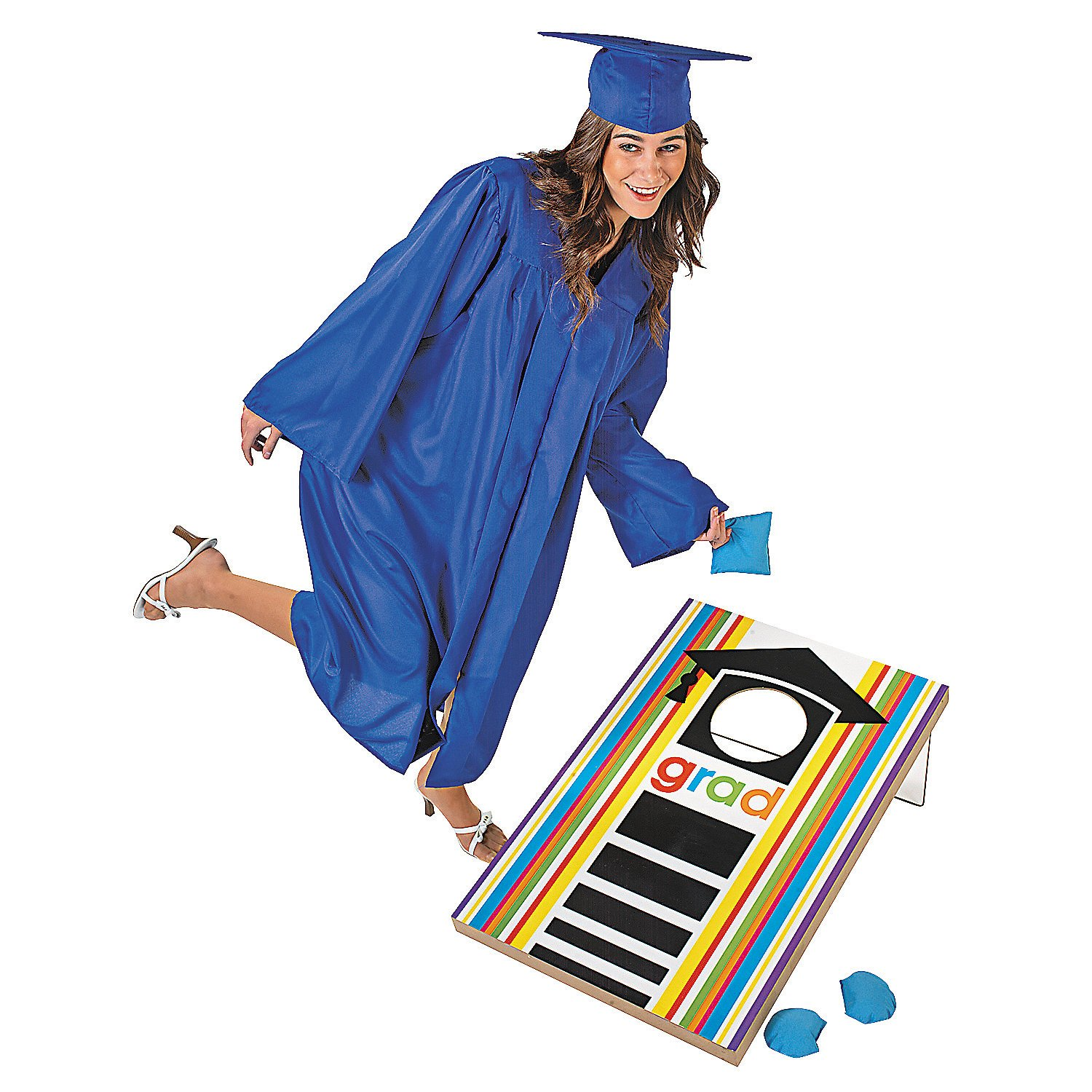 Fun Express - Cheers Grad Bean Bag Toss Game for Graduation - Toys - Games - Bean Bag Toss - Graduation - 7 Pieces