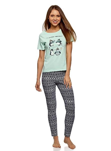 """oodji Ultra Mujer Pijama con Pantalones y Estampado """"Pingüinos"""", ..."""