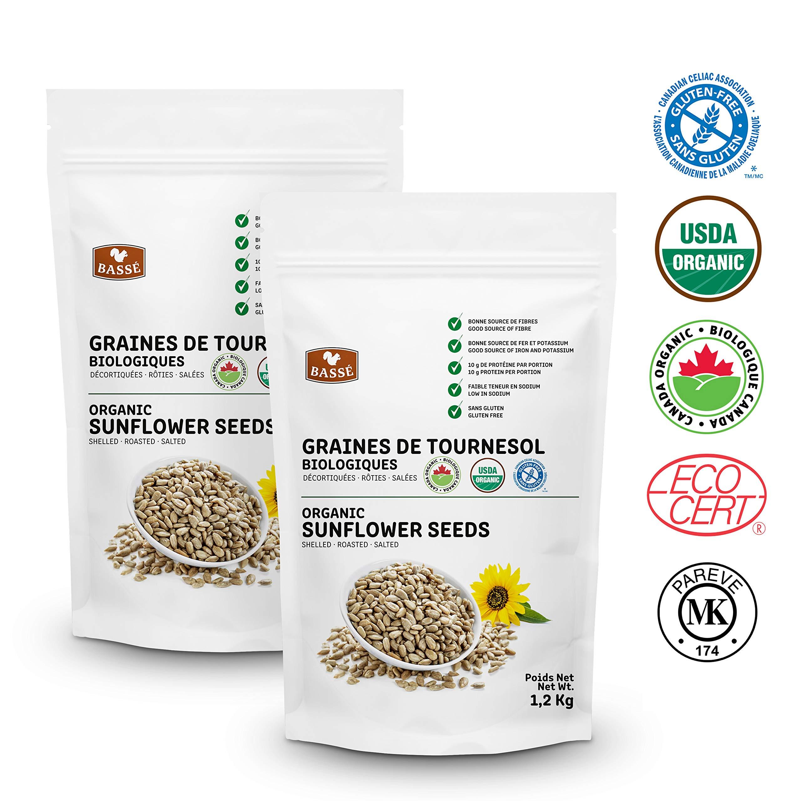 Basse Organic Sunflower Seeds, Gluten-Free – Kosher Certified 2 Resealable Bags (2.6 Pounds each)