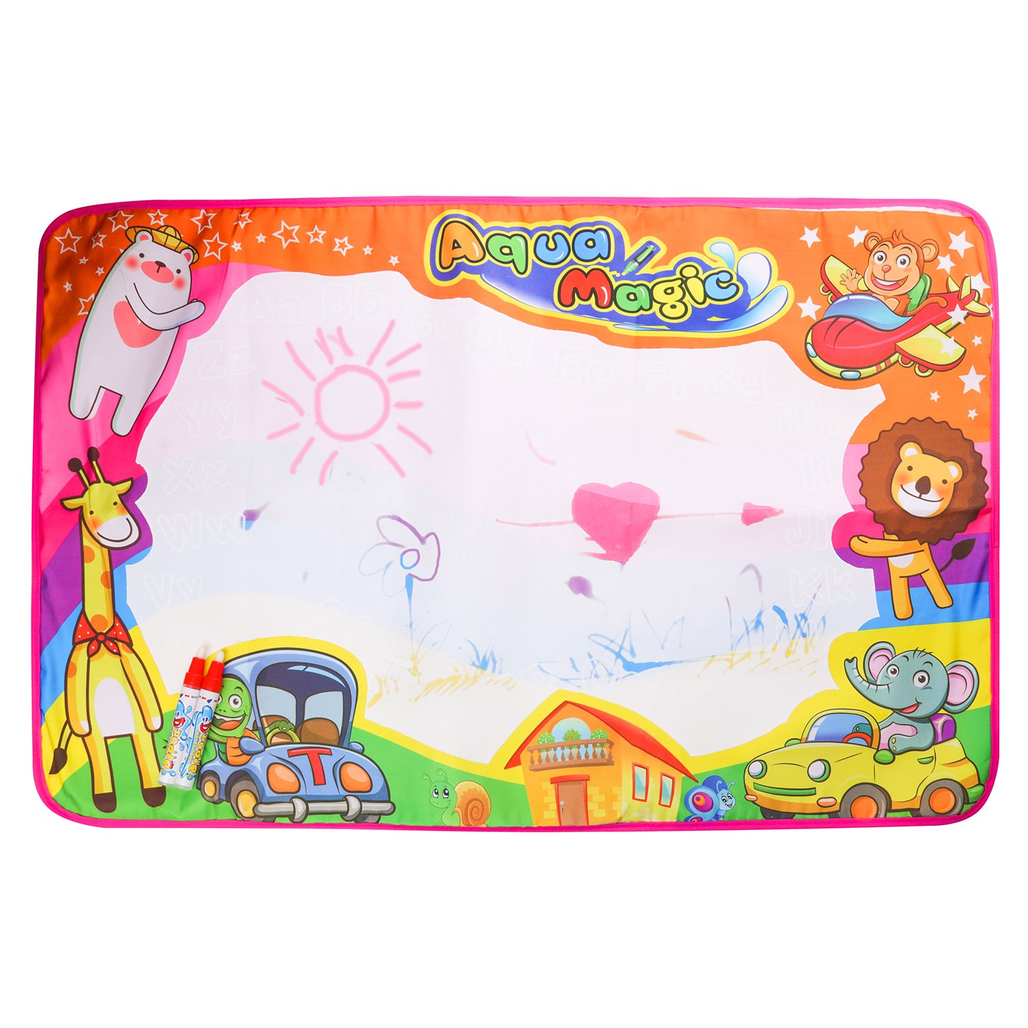 Water Drawing Doodle Mat, Large Magic Painting Travel Pad board Kids Educational Play Toys Learning Scribble Tools with 2 Magic Pens+1brush pen for Children Baby Toddler Boys Girls (33.86 x 22.05 In) Centtechi