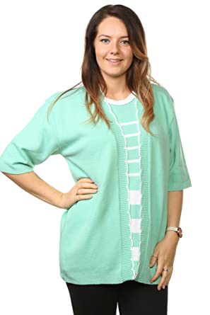 Ladies Womens Striped Twin Sets Knitted Cardigans Short Sleeve