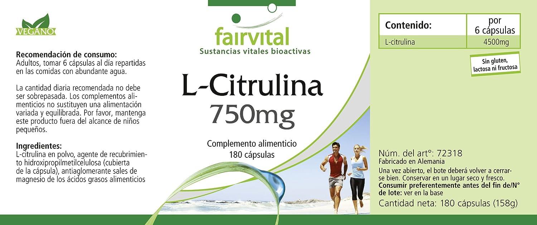 L-citrulina 750 mg - 1 mes - VEGAN - ALTA DOSIS - 180 cápsulas - aminoácido: Amazon.es: Salud y cuidado personal