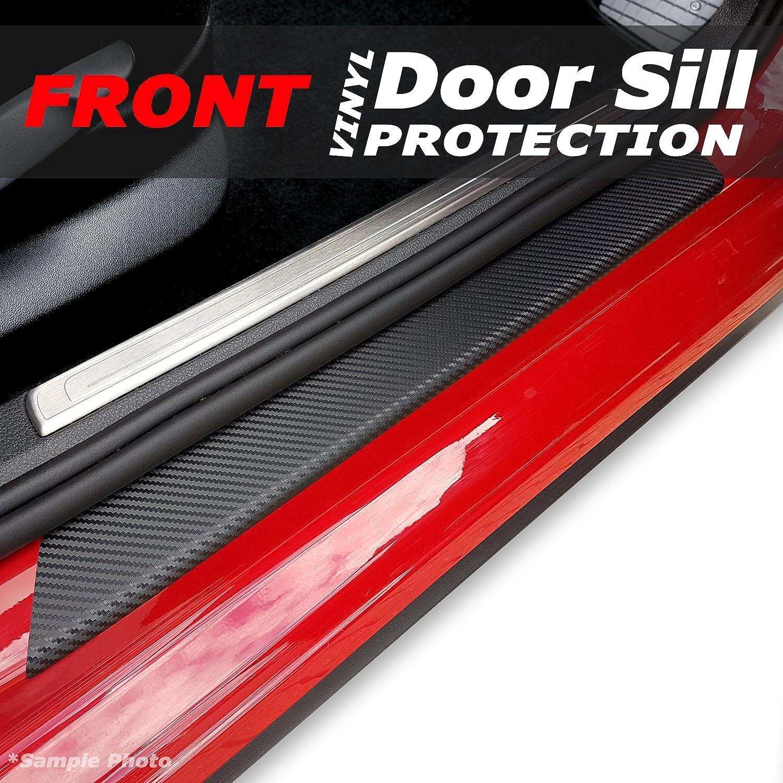 carmats4u Black Carbon Vinyl Door Sill Protectors 2 Piece Unique Car Mats
