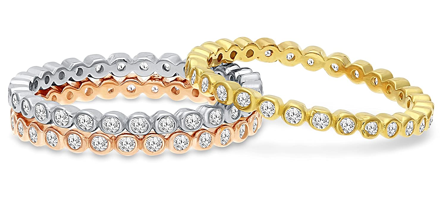 Art and Molly Sterling Silver Cubic Zirconia Three-Tone Stackable Bezel Eternity Triple Ring Set