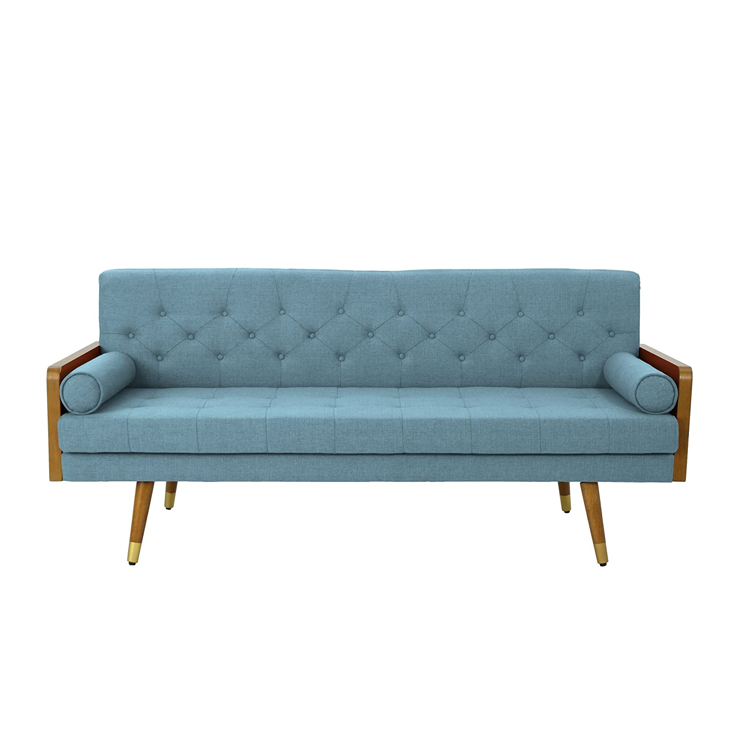 Christopher Knight Home 305141 Aidan Mid Century Modern Tufted Fabric Sofa,  Blue,