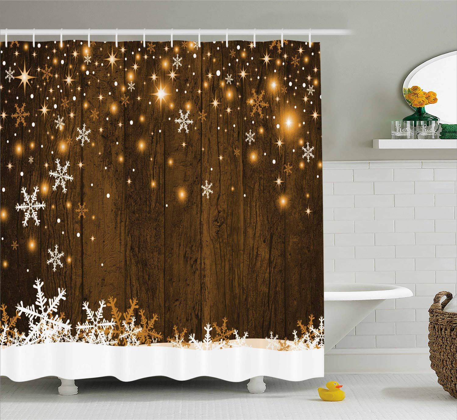 Ambesonne Christmas Decorations Shower Curtain Set Rustic Wooden Backdrop With Snowflakes And Lights Warm Xmas Celebration Themed Bathroom Accessories