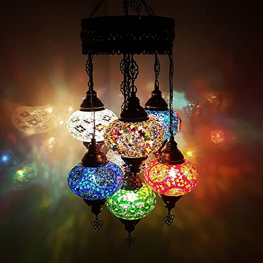 Unique turkish lamp ottoman style glass mosaic chandelier 7 unique turkish lamp ottoman style glass mosaic chandelier 7 bulbchand c aloadofball Image collections
