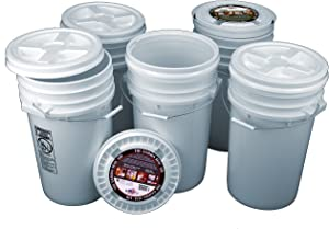 Bucket Kit, Five White 7 Gallon Buckets with White Gamma Seal Lids