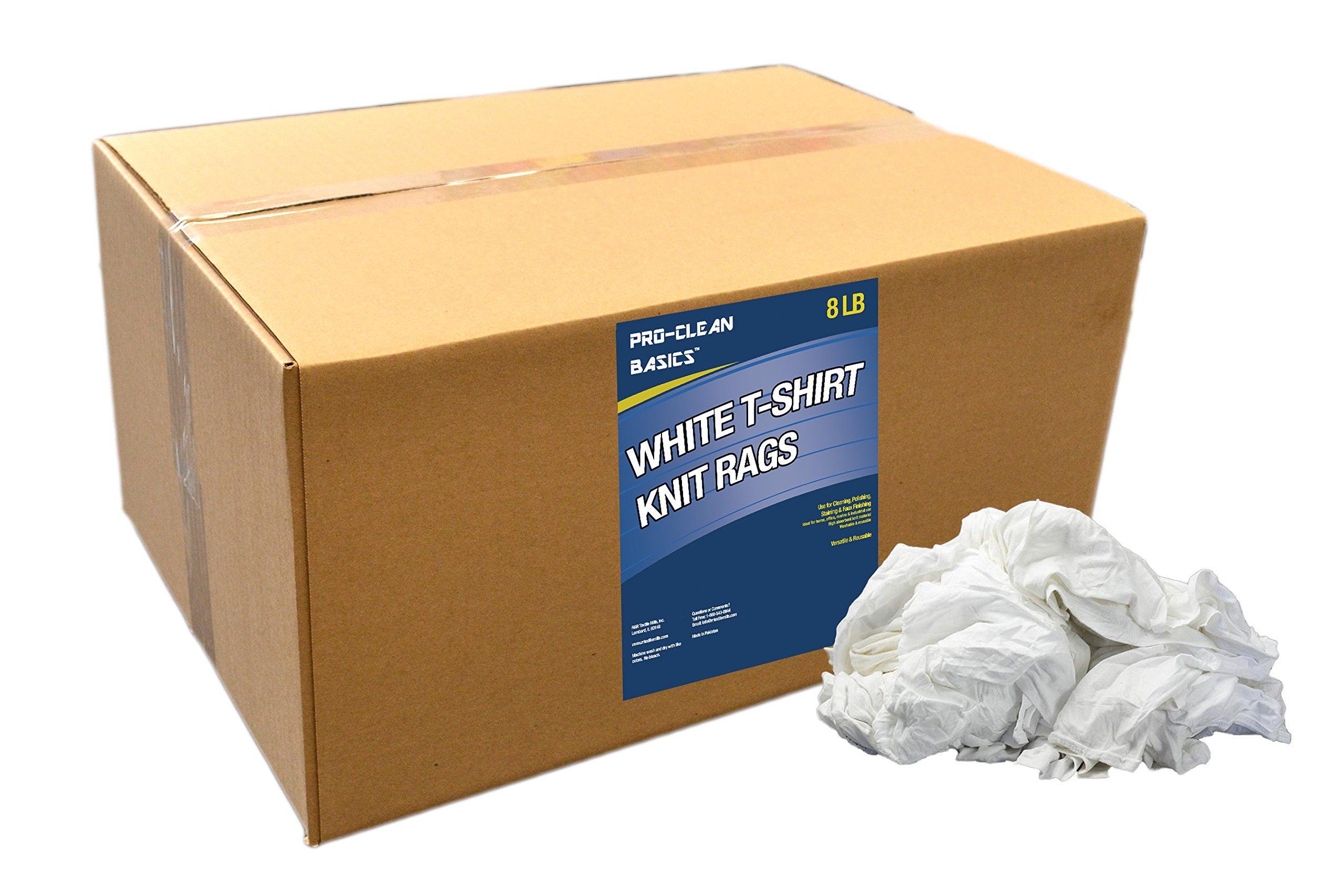Pro-Clean Basics White T-Shirt Cloth Rags: 8 lb. Bag
