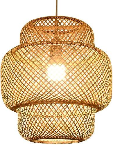 Meiney Modern Bamboo Rattan Lights Fixture Bamboo Wicker Chandelier Basket Light Fixture Ceiling Hanging Lamp Shades Decor Pendant Lights