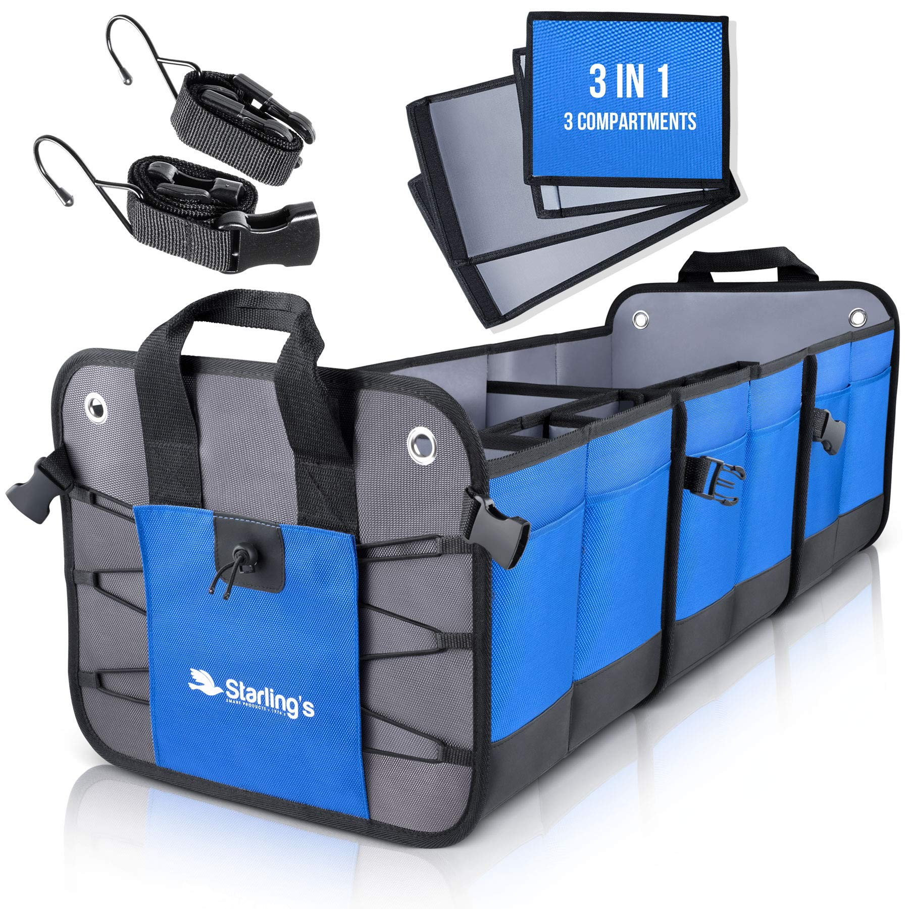 Starling's Car Trunk Organizer - Durable Storage SUV Cargo Organizer Adjustable (Blue, 3 Compartments) by Starling's