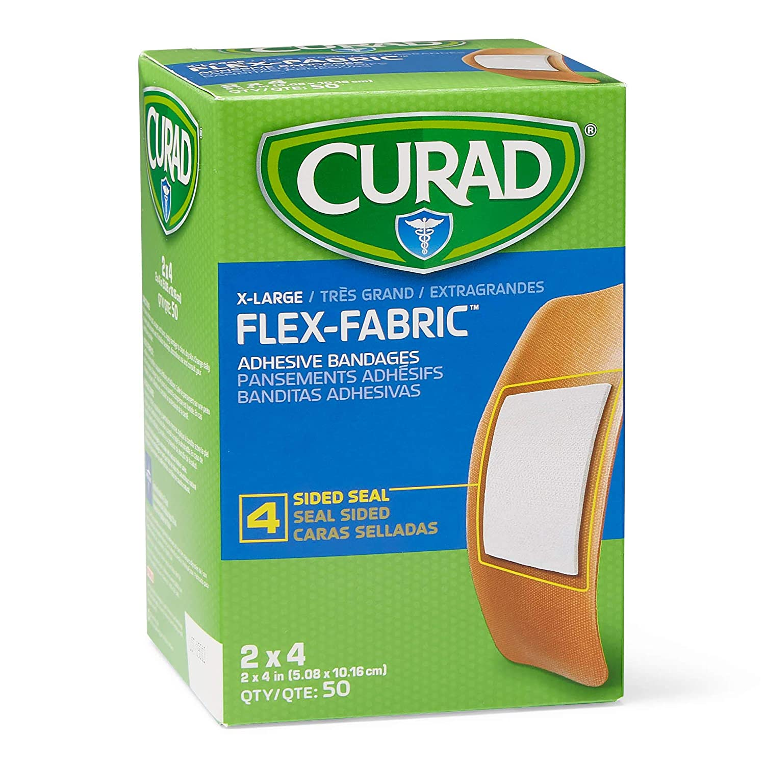 Curad Flex-Fabric Adhesive Bandages with Stretch to Conform to Wounds, 2 x 4 Inches, (50 Count)