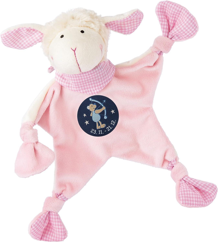 color rosa Sigikid 48824 Mantita de arrullo con dise/ño de oveja y s/ímbolo de Sagitario