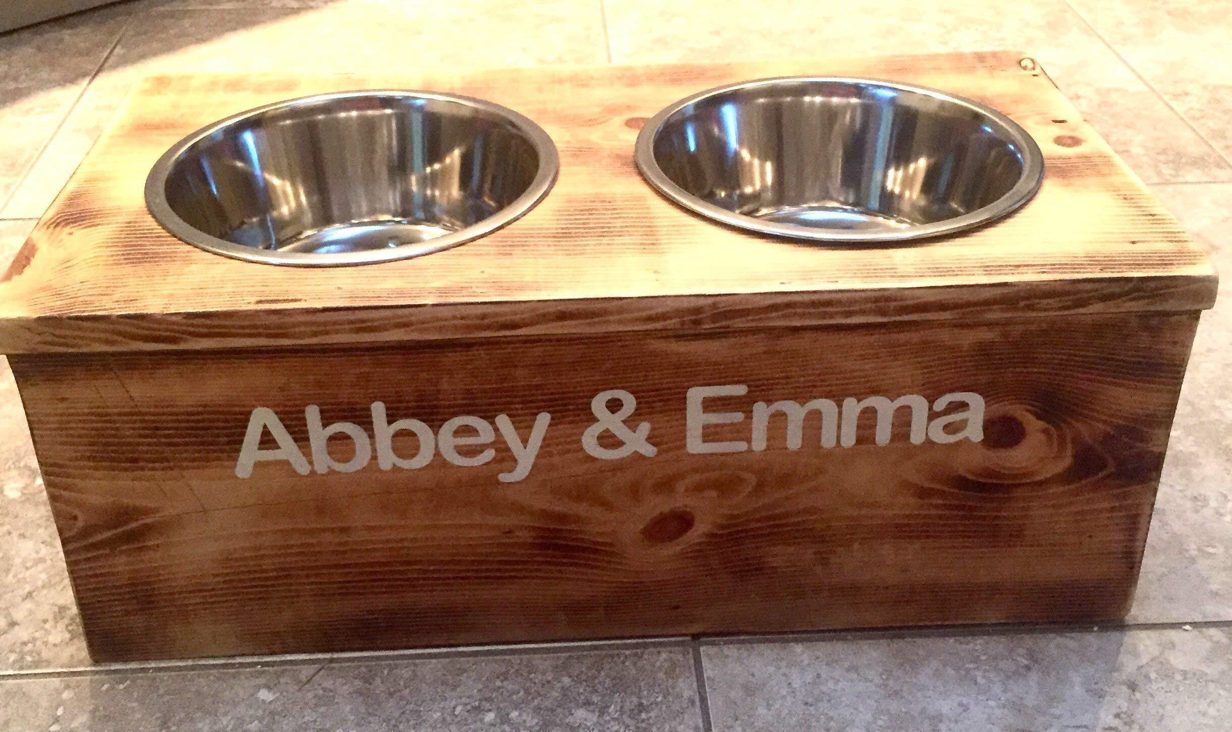 Double Extra Large Elevated Dog Dish // Extra Large 2 Bowl Feeding Stand // Dog Dish // Elevated Dog Bowl by 6 Dogs Decor (Image #3)