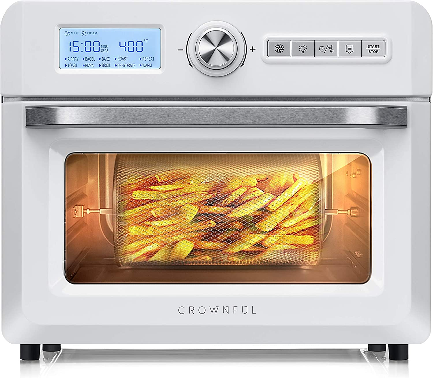CROWNFUL 19 Quart Air Fryer Toaster Oven, Convection Roaster with Rotisserie & Dehydrator, 10-in-1 Countertop Oven, Original Recipe and 8 Accessories Included, UL Listed (White) (Renewed)