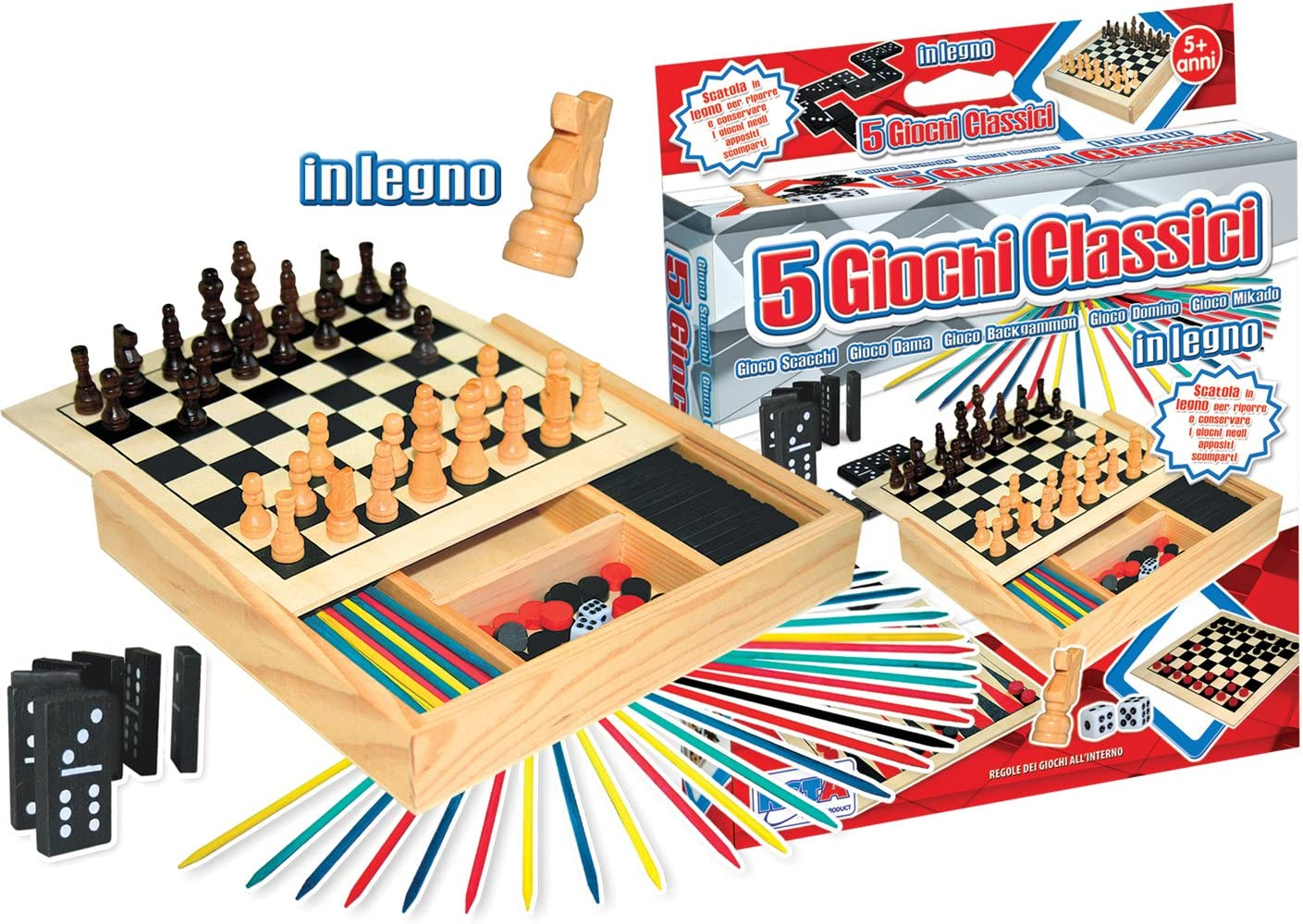 rstoys 8181 juegos reunidos madera 5 en 1: Amazon.es: Juguetes y ...