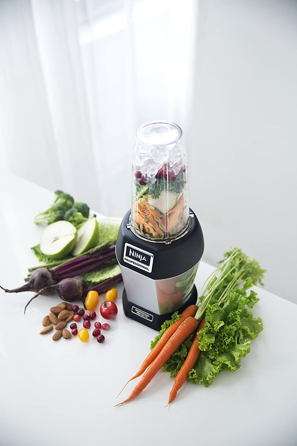 Ninja Nutri Pro Compact Personal Blender, with 18 Oz. and 24 Oz. To Go Cups, in a Black and Silver Finish
