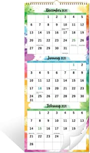 """2021 Calendar - 3 Month Wall Calendar Display (Folded in a Month), 11"""" x 26"""", Vertical Calendar with Thick Paper, September 2020 - December 2021, Perfect for Organizing & Planning"""