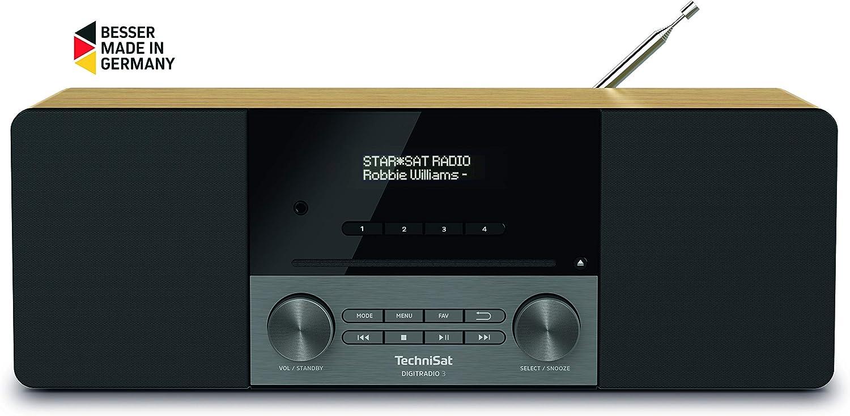 Technisat Digitradio 3 Stereo Dab Radio Kompaktanlage Dab Ukw Cd Player Bluetooth Usb Kopfhöreranschluss Aux Eingang Radiowecker Oled Display 20 Watt Rms Eiche Heimkino Tv Video
