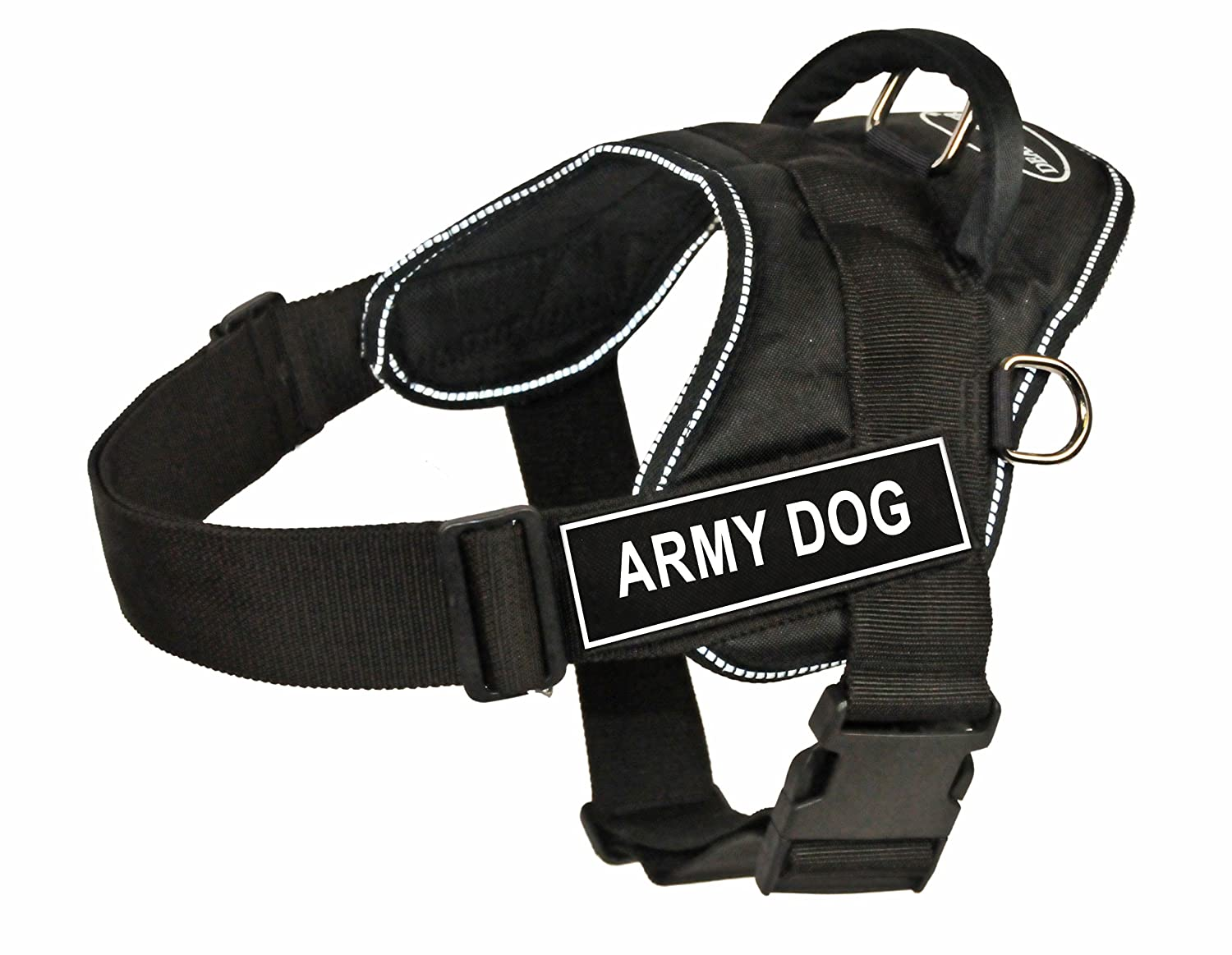 Dean & Tyler Fun Works Army Dog Harness, X-Large, Fits Girth Size  34-Inch to 47-Inch, Black with Reflective Trim