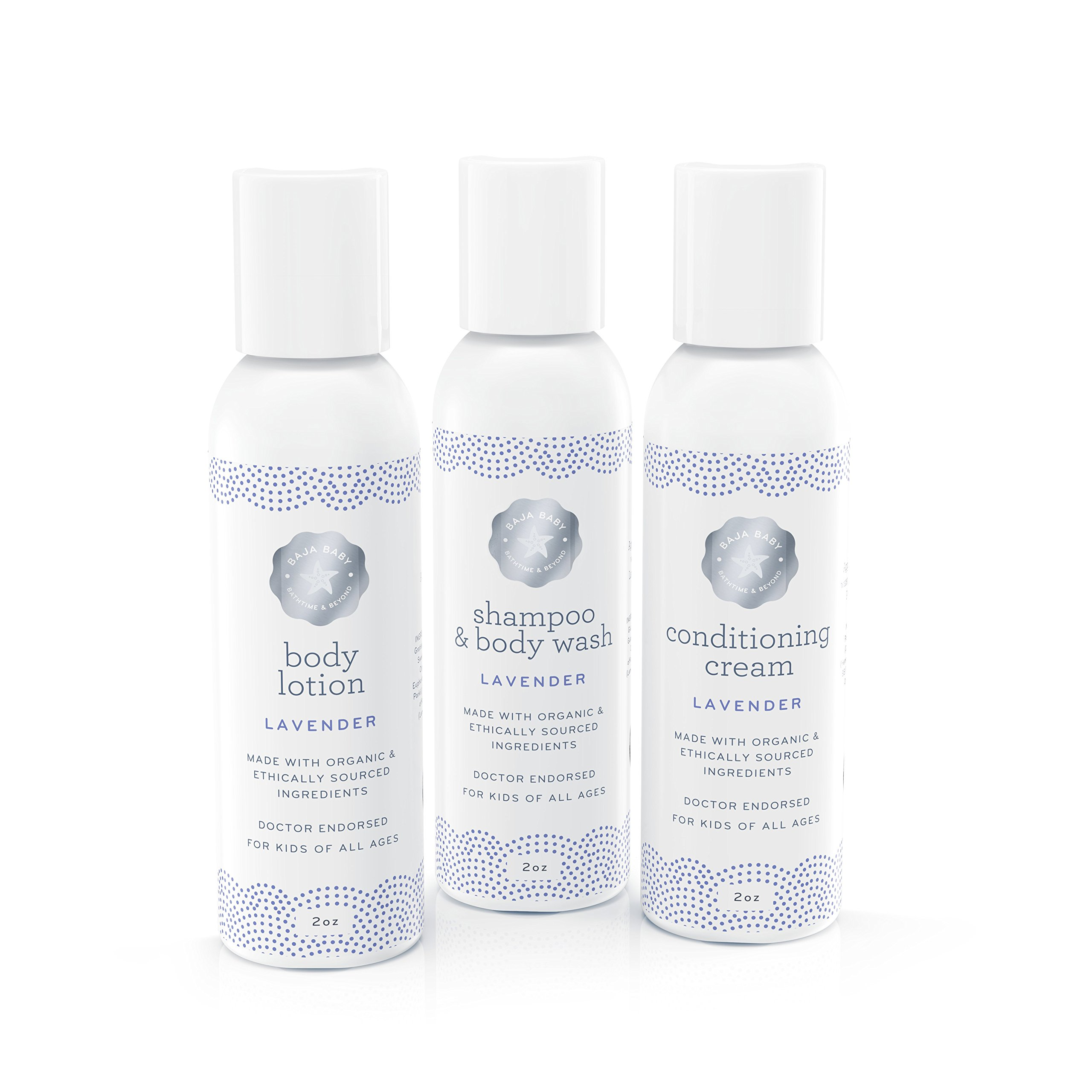 Baja Baby Lavender Travel Set - 2oz Shampoo, Conditioning Cream and Nourishing Body Lotion - EWG Verified™ - Free of Sulphates, Parabens and Phosphates - Dr Approved - 100% Money Back Guarantee!