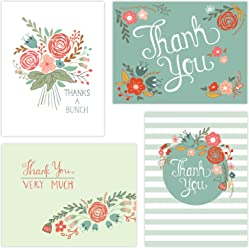 "One Jade Lane - Floral Festival Thank You Cards (Self-mailer) POSTCARDS ""Postage Saver"" (Set of 40)."