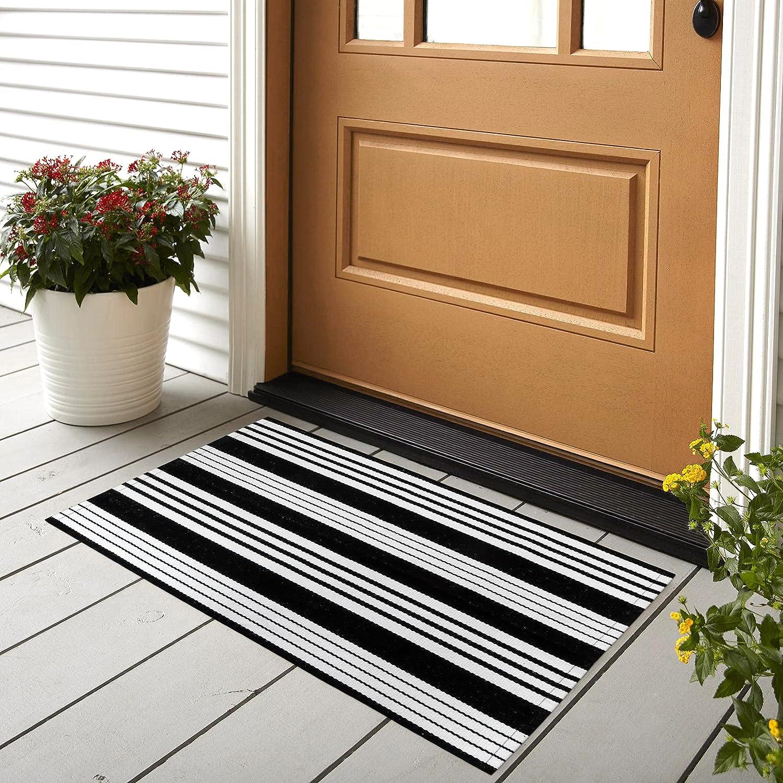 Tiffasea Door Mat 2' x 3' Cotton Hand Woven Reversible Non-Slip Machine Washable Front Door Mat Indoor/Outdoor Mat for Kitchen/Laundry/Bathroom