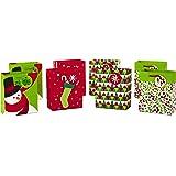 Hallmark 节日小礼品袋套装 - 雪花、条纹、快乐(5 件装;红色、白色和牛皮绒) Christmas Bundle, Small 小号 5XGB4888
